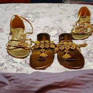 2 gold pairs of sandals.